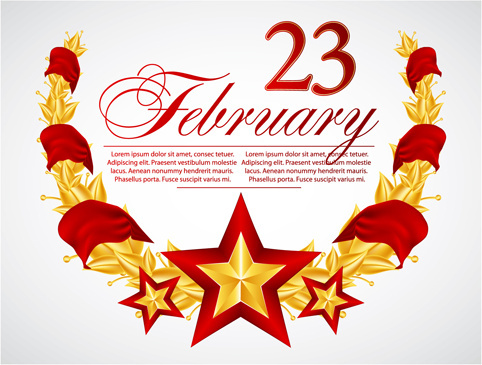festival elements of february and stars design vector