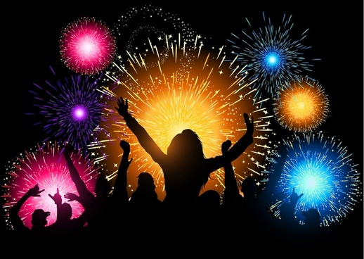 festival fireworks crowd cheered silhouettes vector