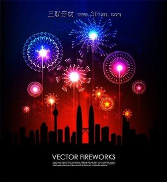 festival fireworks vector fireworks city