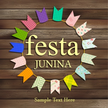 festival poster colorful ribbon decor circle layout