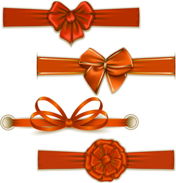 festival ribbon bow colorful vector set