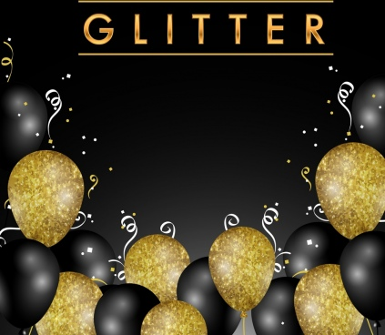festive background glitrering golden black balloon decoration