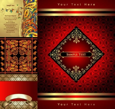 decorative background sets colored retro ethnic design