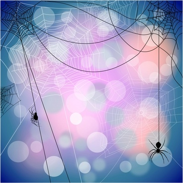 Festive background with spiders and web