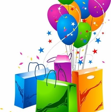 balloons and shopping bags icons eventful style design