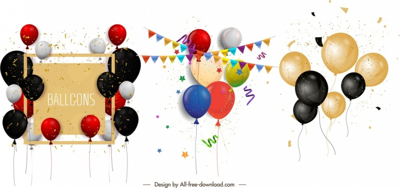 festive balloons icons shiny colorful ribbon confetti decor