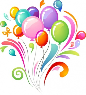 decorative background colorful balloons curves ornament