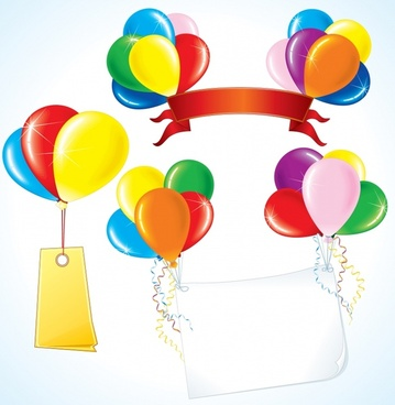 festival design elements colorful balloons ribbons tags icons