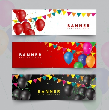 festive banner sets multicolored ballon ribbon decoration