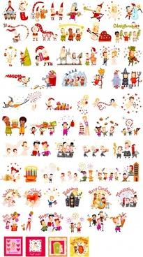 festive decor elements joyful characters colorful symbols sketch