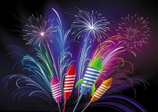 festive fireworks 03 vector