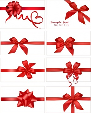gift bow templates elegant red shapes