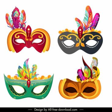 festive masks icons colorful classic feathers decor