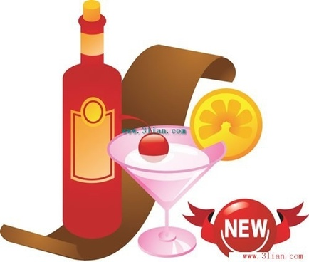 festive wine and beverages vector