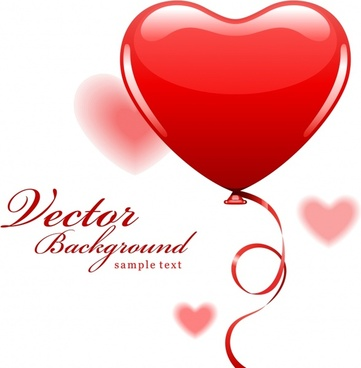 fiery red heart balloon vector