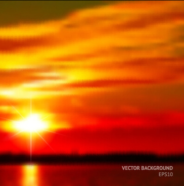 fiery red sunset background art