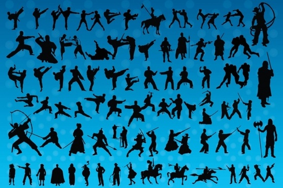 Fighting Silhouettes Vectors