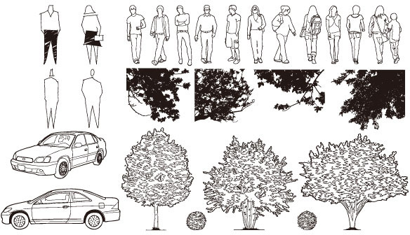 figure automobile trees vector