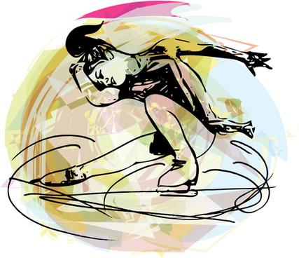 figure skating fraffiti vector