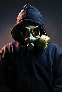 figure wearing a gas mask picture 1
