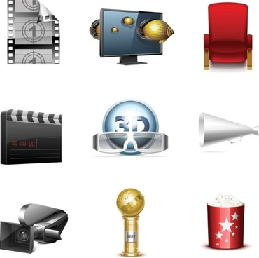 film and television icons vector