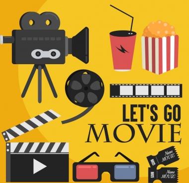 film design elements filmstrip glasses popcorn icons