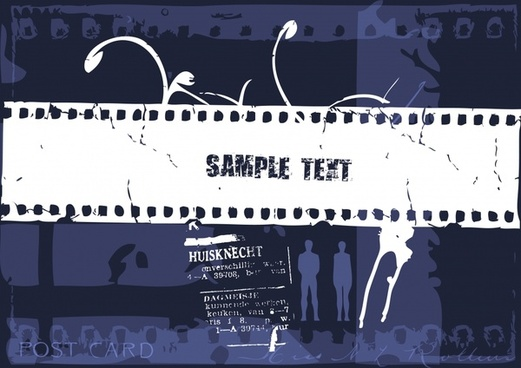 film festive banner template dark retro silhouettes decor