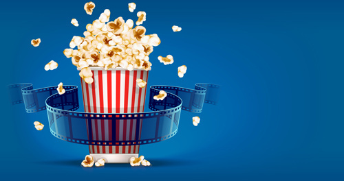 film with popcorn cinema poster vector