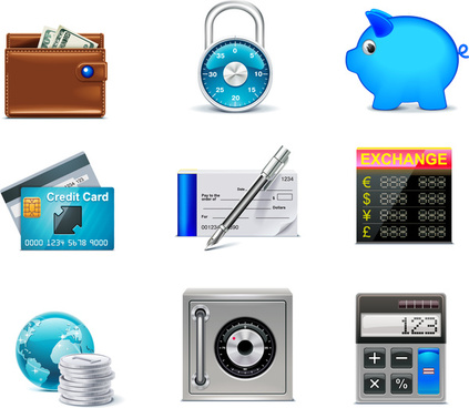 finance business icons set