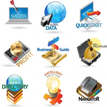 business icons colorful modern 3d symbols