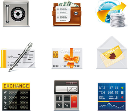 financial elements icons vector