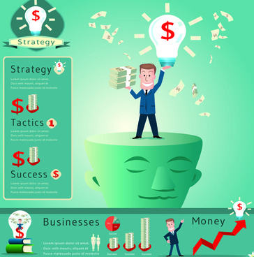 financial elements infographics vector