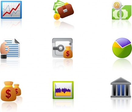 finance icons multicolored modern design