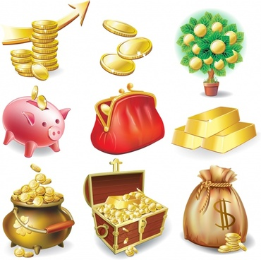 wealth icons shiny modern colored symbols sketch