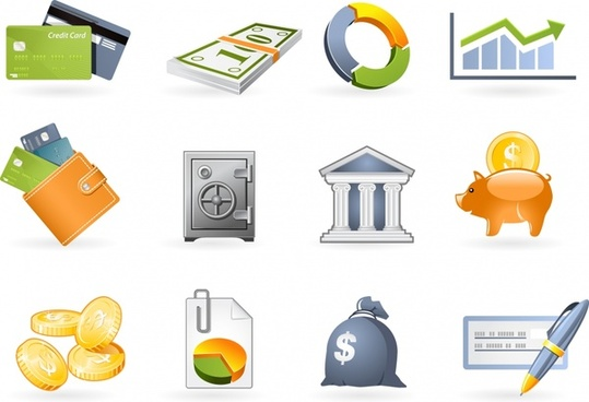 finance icons colorful modern banking money chart sketch