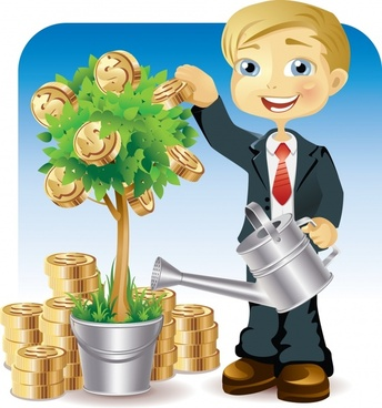 financial investment painting boy planting coins tree icon