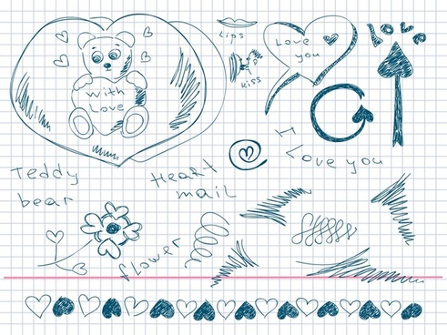 love background heart arrow teddy bear handdrawn sketch