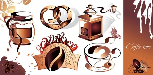 fine coffee element 01 vector