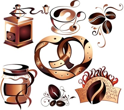 fine coffee element 02 vector