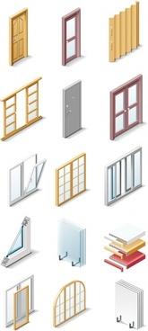 fine doors and windows icon vector