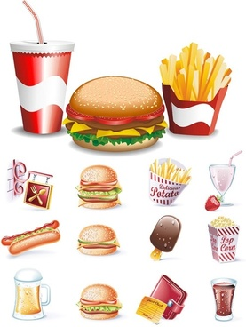 fine fastfood icon vector