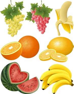 fresh fruits icons 3d colorful realistic design