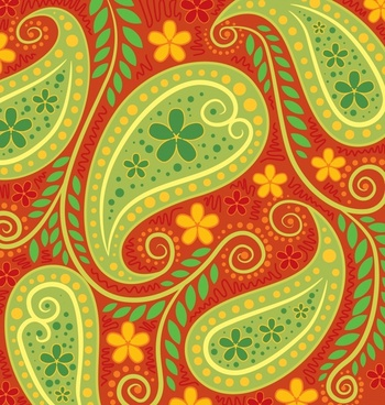nature pattern retro colorful leaves flowers sketch