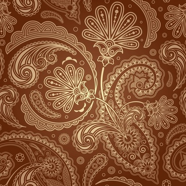 traditional pattern template floral sketch classical brown design