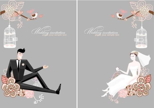 Romantic wedding elements backgrounds vector 05 free download.