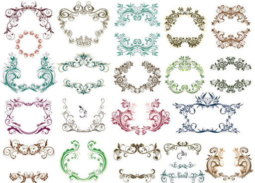 fine ornaments lace and borders vector graphic