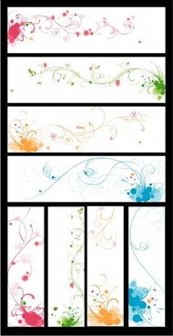 flower background sets bright colorful design curves ornament