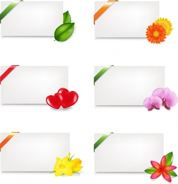 decorative card templates colored modern leaf floral design