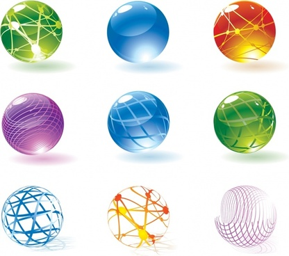 decorative spheres icons modern colorful shiny sketch