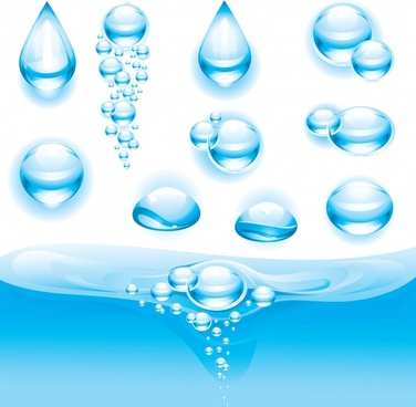 water droplets icons modern transparent blue shapes